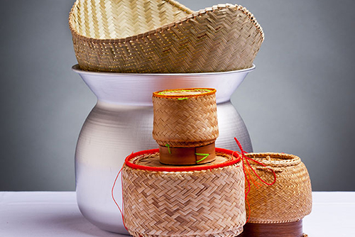 Traditional bamboo sticky rice steamer and serving baskets