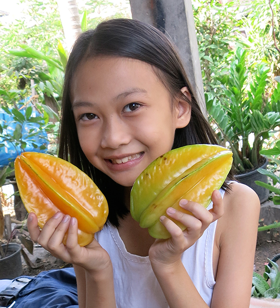 Rung's daughter, Ploi, with a couple of perfectly ripe star fruits.