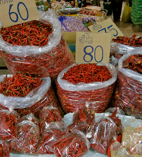 Phrik - Fresh Thai chilies at the market.