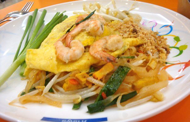 Pad Thai Sai Kai: Stir-fried rice noodles with shrimp, bean sprouts & peanut wrapped in egg.